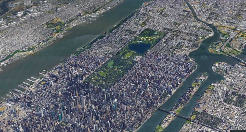 Manhattan New York from Google Earth