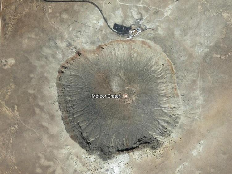 Meteor Crater in Arizona from Google Earth