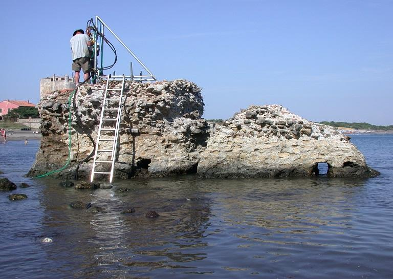 Roman concrete structure submerged into seawater