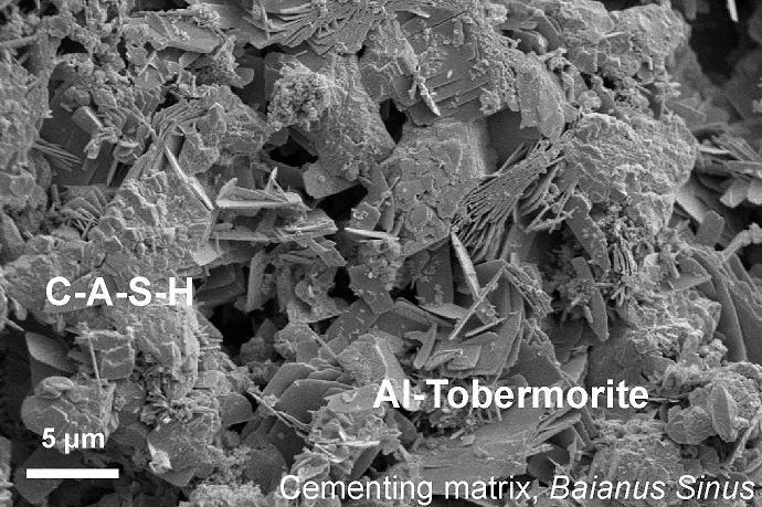 pumice clast in Roman concrete specimen
