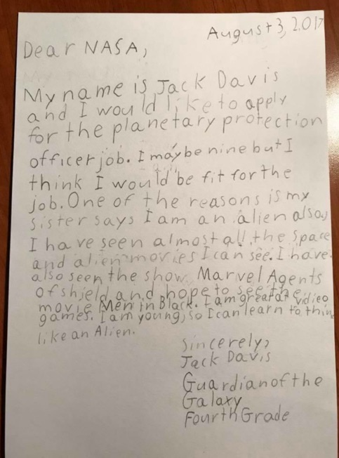 This 9-Year-Old Wrote A Job Application Letter to NASA and It's Incredible