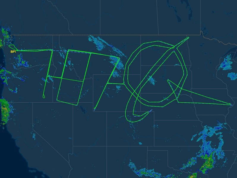 This Boeing 787 Dreamliner Spent 18 Hours Drawing A Gigantic Self-Portrait Across the US