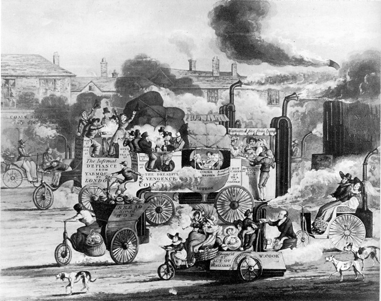 A satire on the coming age of free-running steam carriages