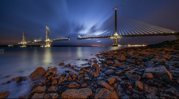 Queensferry Crossing construction at night