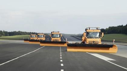 Daimler Has Revealed Its Fleet of Autonomous Snow Plow Trucks for Airports
