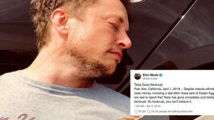 Elon Musk Announces Tesla is Bankrupt in April Fools' Day Tweet