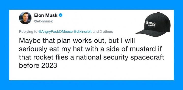 Elon Musk Dares Himself to 'Eat His Hat' if a Competitor Launches Another Rocket Before 2023