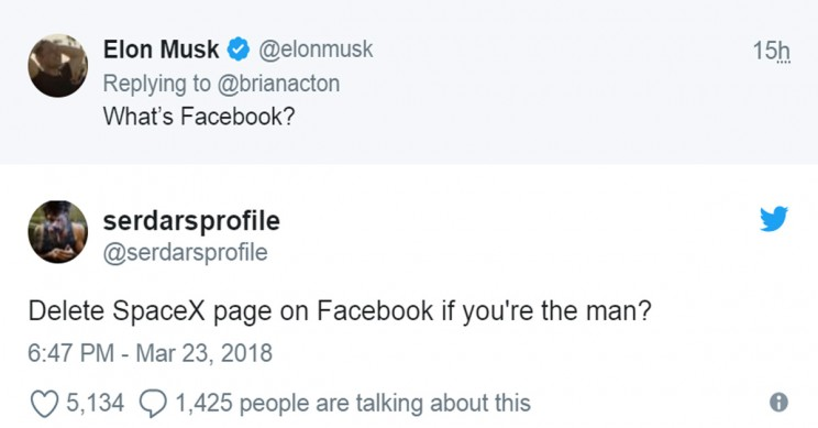 Elon Musk Deletes All of His and His Companies' Facebook Accounts