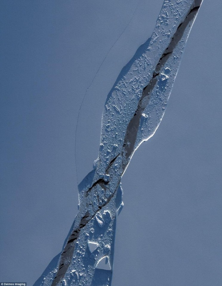 Recent satellite images show the crack in detail
