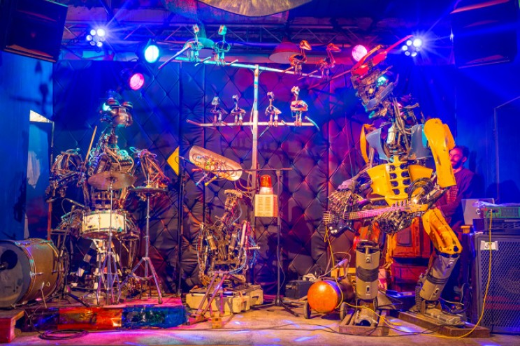 Robots Made of Scrap Metal Play Real Musical Instruments
