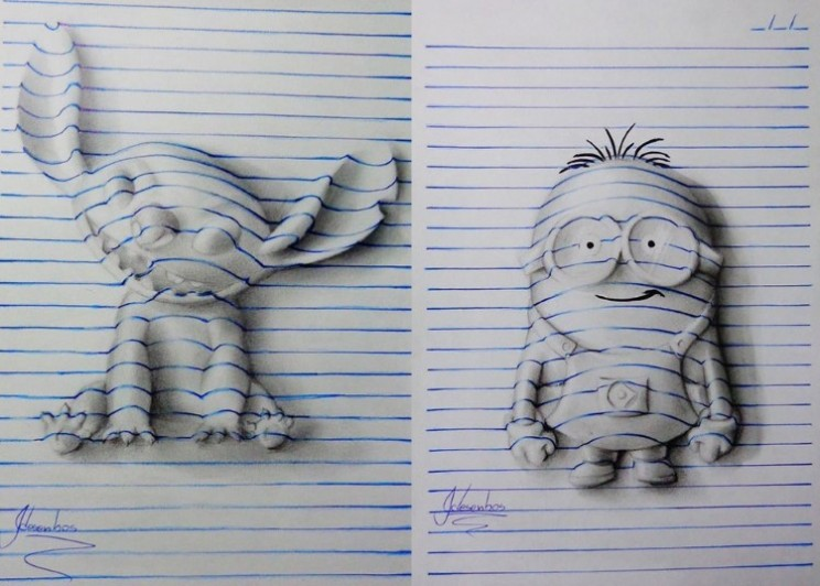 2D artwork gives the impression of 3D notepad art
