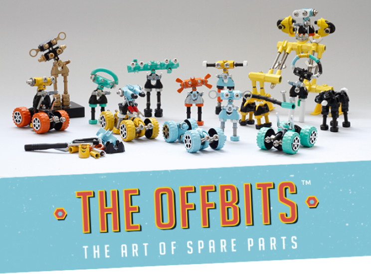 The Offbits robot builder kit from spare parts