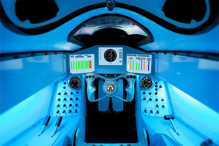 The cockpit of a 1000 mph car, the Bloodhound SSC