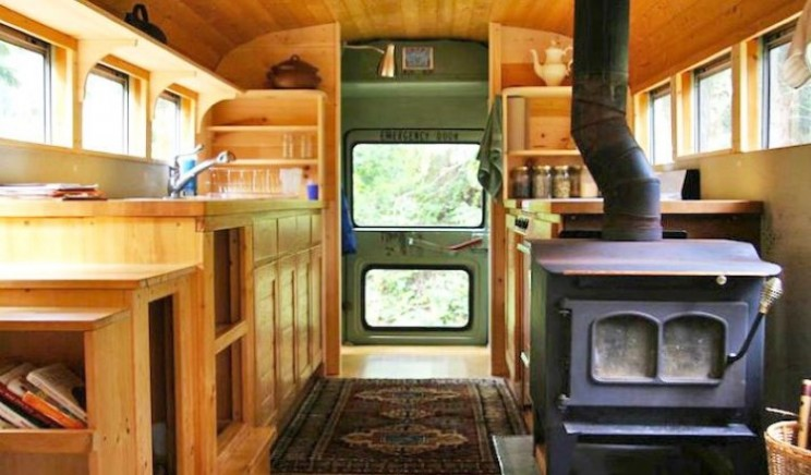 Earthy home made from old US school bus