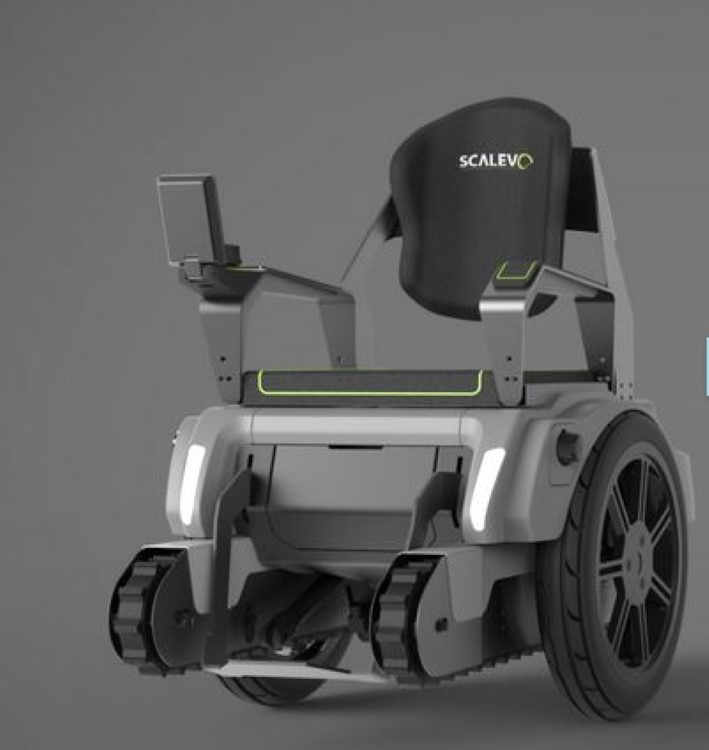 Scalevo wheelchair has treads to go up steps