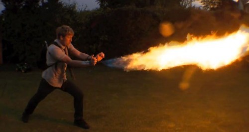 Mad inventor does it again with terrifying wrist mounted flame-thrower