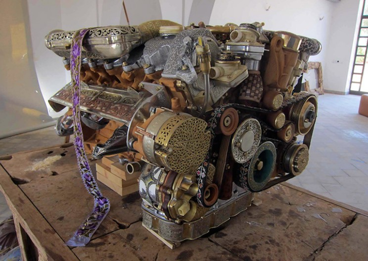 Building a Mercedes V12 Engine Sculpture  from 53 Different Materials