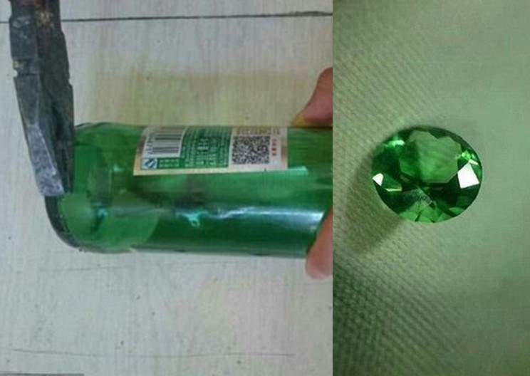Talented Man Created an Incredible Gemstone from a Beer Bottle!