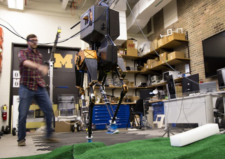 Two Legged Robot Easily Walks Over Uneven Terrain