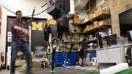 Two Legged Robot Easily Walks Over Uneven Terrain