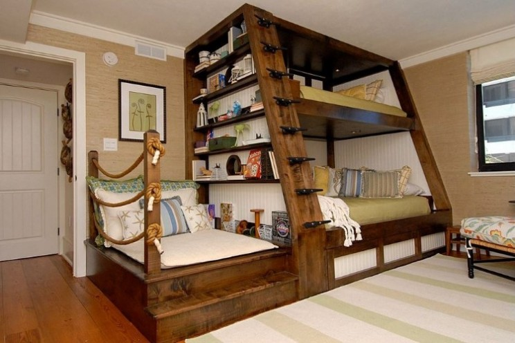 Beautiful Southern Designed Bunk Bed is Compact with Sitting Space and Shelving