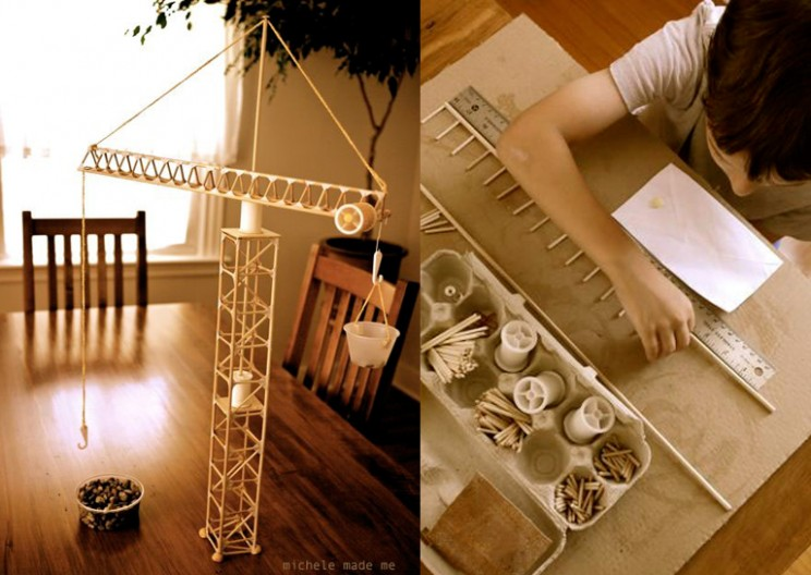 Mom and 6-Year-Old Build Ingenious Tower Crane from Sticks and Thread Spools