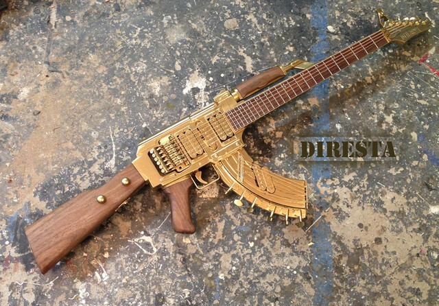 Check out this golden AK47 guitar!