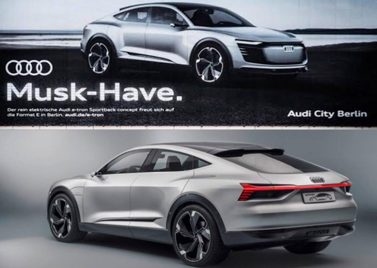 Audi Trolls Tesla With New Billboard For the 'Musk-Have' e-Tron Sportback