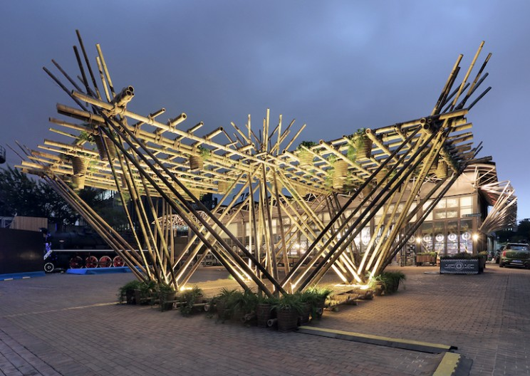 Multi-story Bamboo Treehouse Held Together Only By Rope