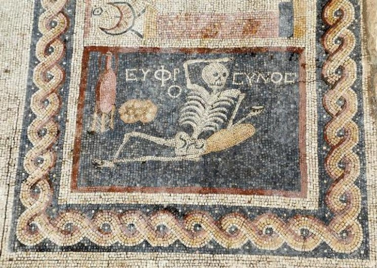 "2400 Year-old Skeleton Mosaic Found in Turkey that says ""Be Cheerful, Enjoy Life"""