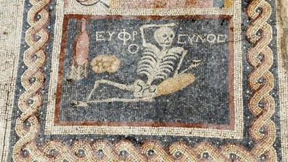 """2400 Year-old Skeleton Mosaic Found in Turkey that says """"Be Cheerful, Enjoy Life"""""""