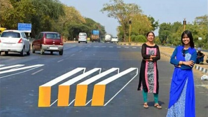 Two Women Designed a Cool 3D Illusion Crosswalk in India