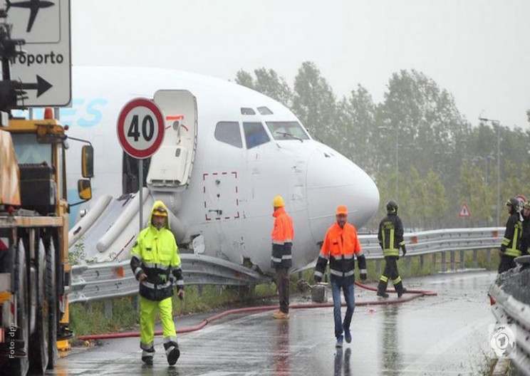 Cargo Plane Skids Off Runway and Crashes into Highway
