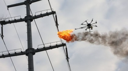 Power Company Uses Fire-Spewing Drone to Clean Power Lines
