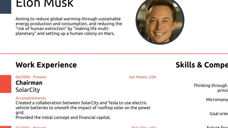 elon musk proves you never need a cv longer than one page