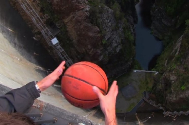 Strange things happen to basketball due to Magnus Effect