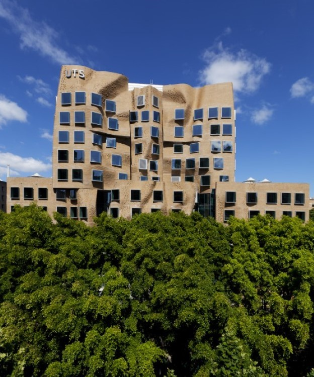 The squashed paper bag building is an Australian architectural icon