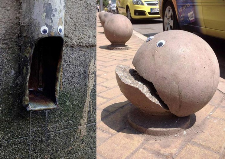 Everyday Street Objects in Bulgaria Come to Life With Funky Googly Eyes