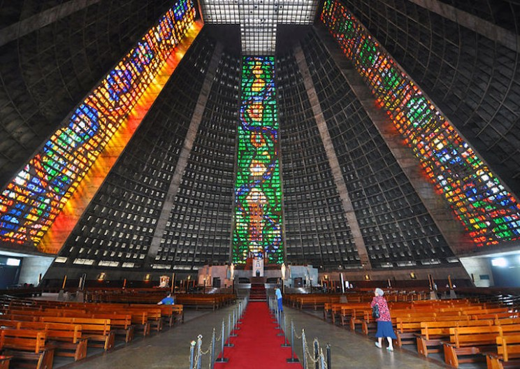 Conical Rio de Janeiro Cathedral Based off of Mayan Pyramids