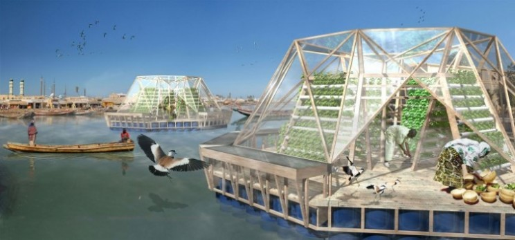 The Jellyfish Barge floating greenhouse grows enough for two families