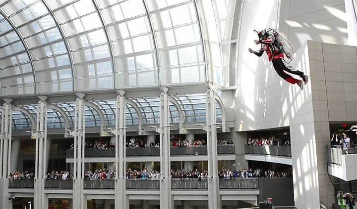 The future is here. Impressive indoor flight of jetpack is unbelievable!