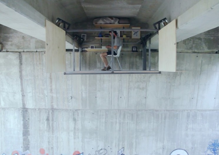 This Self-Taught Designer Built an Incredible Secret Office Beneath a Busy Bridge
