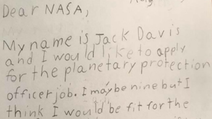 This 9 Year Old Wrote A Job Application Letter To NASA And