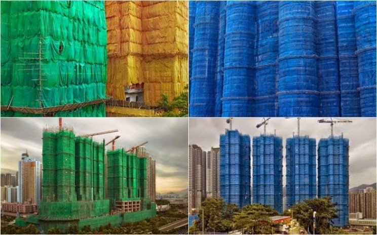Colourful Fabric Wrapped Buildings Under Construction