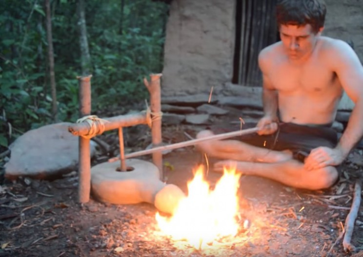 Man Creates Primitive Bellows and Forge from Found Materials