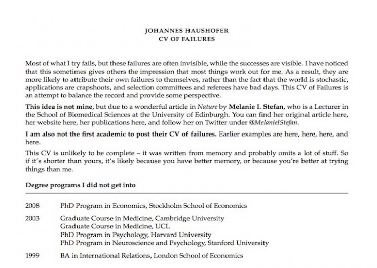 "Princeton Professor Publishes Hilarious ""Resume of Failures"""