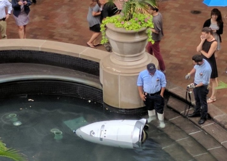A Robot Security Guard Just Drowned Itself by Driving into a Water Fountain