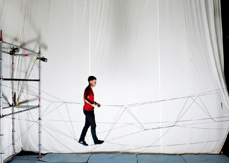Watch as Drones Weave a Rope Bridge you can Walk Across