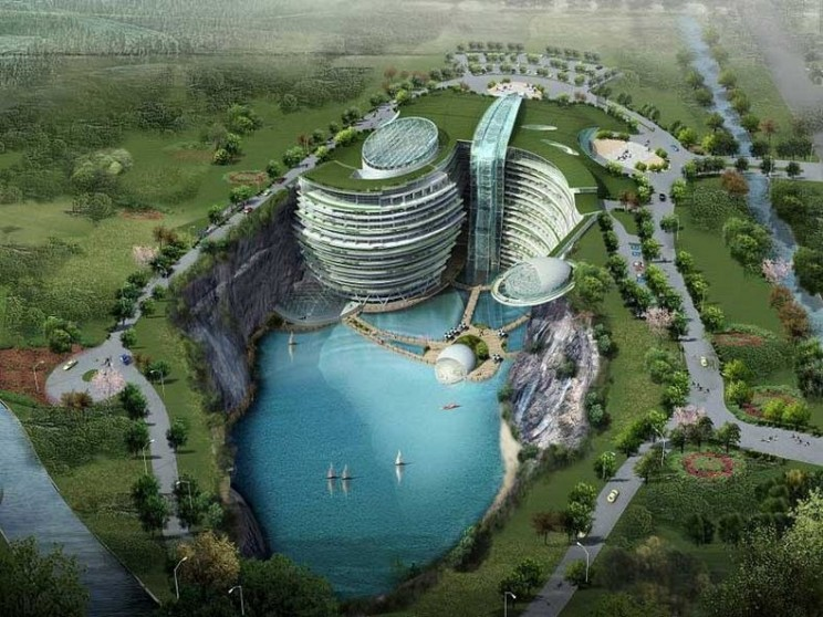 Construction of an Incredible Underground Hotel in Songjiang Begins