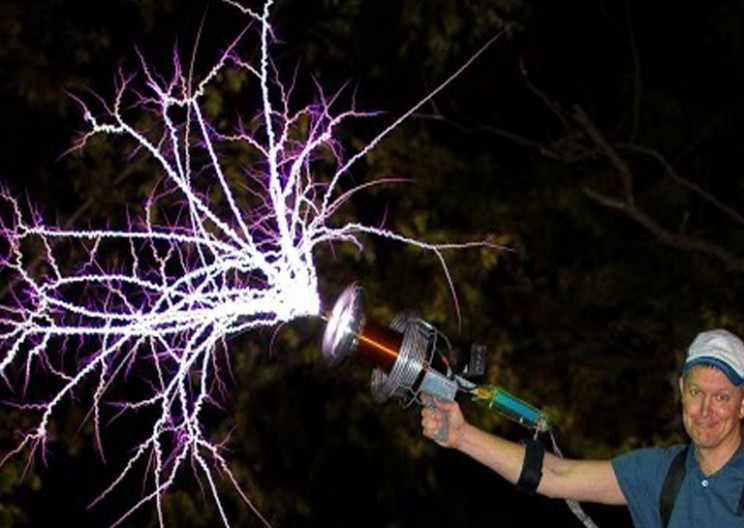 Watch the Wearable Tesla Coil Gun in Action